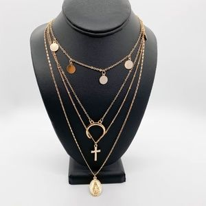 4-Strand Christian Gold-Tone Pendant Necklace